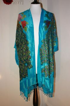 Turquoise Beaded Peacock Fringed Long Kimono by missloulouscloset, £50.00