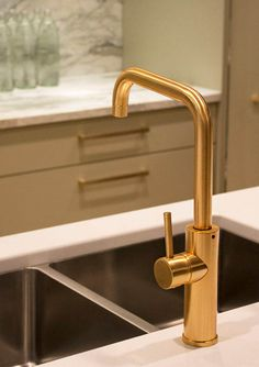 Aquabrass Master Chef Kitchen Faucet in a Brushed Gold Finish, Featured in @kellydeckdesign #Gold #InteriorDesign #Aquabrass