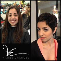 Chop chop! Artistic team member Novelette took this client's long tresses and transformed them into a happening pixie. Hit 'LIKE' If you love it as much as we do! #visiblechanges