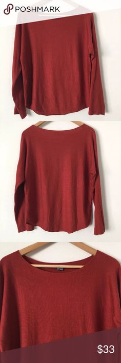 """Vince Womens L/S Boatneck Sweater Vince Womens L/S Boatneck Sweater Top Rayon Blend Burnt Orange Size Small. Material: Rayon Nylon Acrylic Cashmere. Clean and no holes or stains. Please see photos.  Please see measurements below for fit. Approx. measurements Laying Flat: armpit to armpit: 18.5"""" centerback of neck to bottom hem: 22.25"""" shoulder to end of cuff: 18.5"""" Vince Sweaters"""