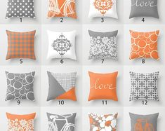 Orange Grey White Throw Pillow Mix and Match Indoor Outdoor Cushion cover Accent Couch Toss Geometric Modern Bedding Living Room Scandi – accent pillow living room Grey And Orange Living Room, Living Room Grey, Navy Orange Bedroom, Living Rooms, Cuir Orange, Orange Grey, Outdoor Cushion Covers, Outdoor Cushions, Orange Throw Pillows
