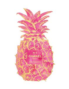 16x20 Gold & Pink Pineapple Chanel No5 Print by hellomrmoon