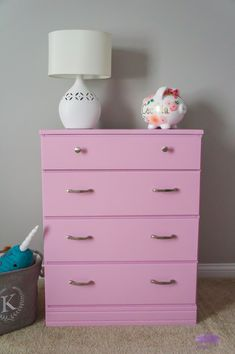 AD: Baby girl dresser makeover for a nursery. Easy DIY tutorial on how to paint furniture with a paint sprayer. #dressermakeover #furnituremakeover #girlnursery