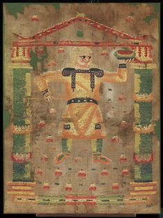 Fragment of curtain. Wool and linen. Design: man wearing yellow tunic with purple clavi and green stockings stands beneath red gabled arch; figure holds dish and looks towards the right; ground strewn with heart-shapedpetals.