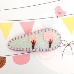 Felt Cherry Blossom Sakura Toddler Hair Clip by FeltInLove on Etsy