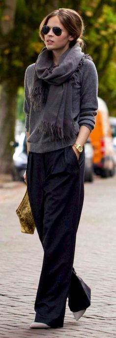 Cos Scarf / Cos Sweater / Acne Studios Clutch / Zara Wide Leg Trousers - Ton sur ton | LOOKBOOK F/W