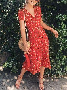 Red Midi Dress V-neck Floral Print Puff Sleeve – Mode Red Midi Dress, Dress Skirt, Midi Dress Outfit, Casual Midi Dress, Floral Midi Dress, Floral Print Dresses, Vneck Outfit, Floral Dress Outfits, Floral Prints