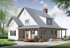 W3518-V1 - Beautiful and small new modern farmhouse home plan, 3 to 4 bedrooms…
