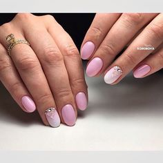 Evening short nails, Exquisite nails, Hardware nails, Nails ideas 2017, Ombre nails, Oval nails, Pale pink nails, Ring finger nails