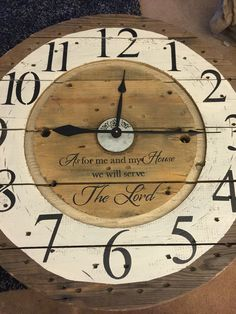 Spool clocks for sale. Create your own class clown Plus shipping. Industrial Clocks, Wood Clocks, Wooden Cable Reel, Wire Spool Tables, Pallet Clock, Farmhouse Clocks, Diy Clock, Clock Ideas, Spool Crafts