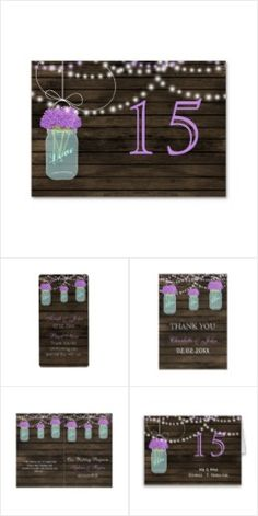 Purple Floral Barnwood mason jar Collection
