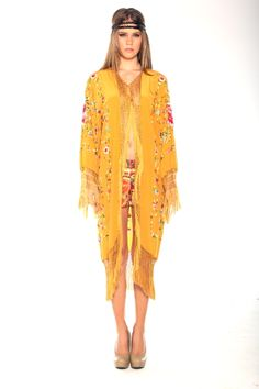 Parides mustard Gold Fringe Kimono Dress bohemian trend 2014 color pantone mustard dress folk embroidery  dress cape fringe tassel gypsy dress 1970 styles fashion trend 2014 boho chic nasty look book