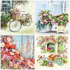 4x sola tabla las servilletas De Papel Para Fiestas Decoupage Artesanales, jardín de flores, Mix