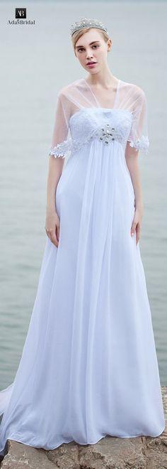 Best A-line Wedding Dresses : Elegant chiffon V-neck neckline A-line wedding dresses with lace appliques (WWD1
