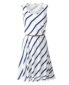 Sleeveless Striped Dress With Tan Belt at Simply Be
