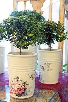 Decoupage Idea: Use Of Tin Can Planters For Home Decoration Decoupage Vintage, Decoupage Tins, Diy Vintage, Napkin Decoupage, Decoupage Tutorial, Tin Can Crafts, Diy And Crafts, Creation Deco, Altered Bottles
