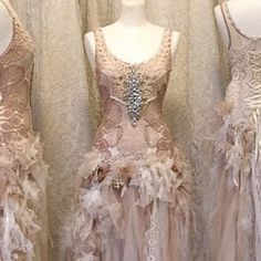 Wedding dress for mermaids ocean colours, bridal gown ethereal with long sleeves, Raw Rags Wedding Dress Rose, Elven Wedding Dress, Woodland Wedding Dress, Steampunk Wedding Dress, Ethereal Wedding Dress, Crochet Wedding Dresses, Bohemian Wedding Dresses, Boho Wedding Dress, Wedding Blush