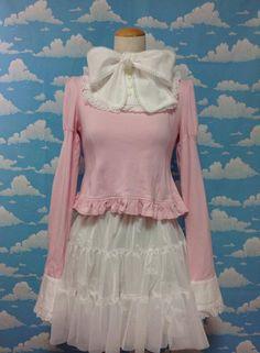 Lacy Bow Cutsew in Pink x White from Angelic Pretty - Lolita Desu