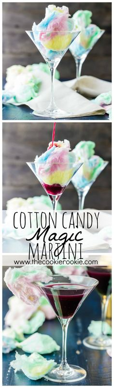 Magic Cotton Candy Martini (Plus Kid Friendly Version) Magic Cotton Candy Martini (Plus Kid Friendly Version). There are SO FUN for Halloween or any time! The Cotton Candy dissolves in the juice! Party Drinks, Fun Drinks, Yummy Drinks, Yummy Food, Beverages, Mixed Drinks, Mocktails For Kids, Best Martini Recipes, Cocktail Recipes