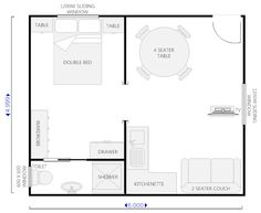 floor plan for granny flat 6m x 6m - Google Search