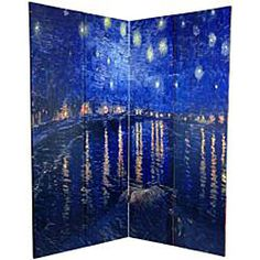 @Overstock - Starry Night in my bedroom!  Love this Van Gogh inspired room divider. Handmade of high-quality wood, this screen will add an artistic touch to any room.