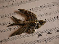 英国 アンティーク 壁掛け ツバメ 燕ヴィンテージ ブロンズ_画像1