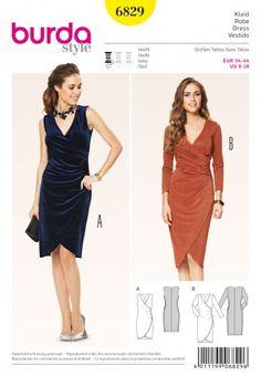 Burda Ladies Easy Sewing Pattern 6829 Mock Wrap Tulip Skirt Dresses | Sewing | Patterns | Minerva Crafts