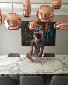 Copper is created by exploding a thin layer of pure metal onto the surface of a polycarbonate globe. The sphere gets squashed and then stretched to create a new pair of complimentary forms in the trademark mirrored copper, allowing new clusters to be f Tom Dixon, Artemis, Staging, Lighting Design, Chandeliers, Kitchen Dining, Copper, Shades, Interiors