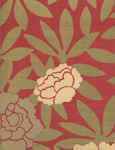 Asuka Wallpaper from Osborne & Little in red. The leaves are a gold metallic. Hot Tamale paint by Benjamin Moore Color Stories is a close match.