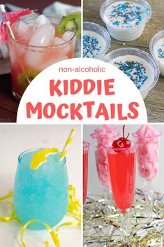 30 Easy and Tasty Mocktails for Kids These kiddie mocktails make the perfect drinks to ring in the New Year like the grownups. Find mocktail recipes for kids in just about any flavor or variety in this huge list of non-alcoholic drinks. Best Non Alcoholic Drinks, Drink Recipes Nonalcoholic, Easy Drink Recipes, Drinks Alcohol Recipes, Punch Recipes, Fun Recipes For Kids, Summer Drink Recipes, Summer Drinks Kids, Kid Drinks