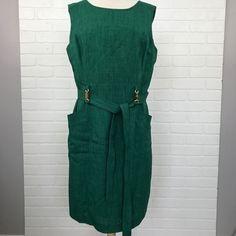 NEW NWT Plus Size Sleeveless Jewel Neck Emerald Green Dress Work Office Career #EllenTracy #SleevelessDress #WeartoWork