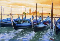 Watercolor Of Gondolas in Venice by John Hulsey