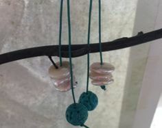 Turquoise and Pearls Leather dangles  Boho EArrings  Bohemian Jewelry   Leather Earrings  Turquoise EArrings  Pearl EArrings