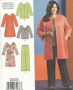 Brand New Plus Size 20W - 28W Wardrobe Simplicity 1938 Sewing Pattern #Separate Cup Sizes #Simplicity1938
