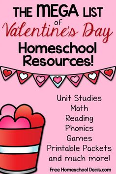 "Valentine's Day Learning Resources: Unit Studies, Coloring Pages, Science, Art, + More! Valentine's Day is right around the corner!  With these Valentine's Day resources, you can easily put together a fun week of ""love""ly learning in"