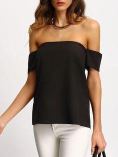 black top, off the shoulder black blouse, sexy black top - Crystalline