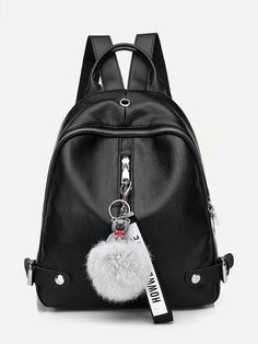 Shop Pom Pom Decor Zip Around Backpack online. SHEIN offers Pom Pom Decor Zip Around Backpack & more to fit your fashionable needs. Canvas Backpack, Mini Backpack, Black Backpack, Backpack Bags, Leather Backpack, Fashion Backpack, Laptop Backpack, Leather Overalls, Pu Leather