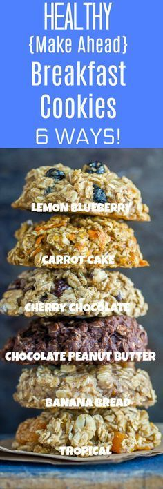 These Healthy Make Ahead Breakfast Cookies are so easy to make! You only need one bowl and they're all gluten free, vegan and refined sugar free. They're freezer friendly and make a great portable breakfast! And, there's 6 delicious flavors to choose from!