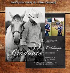 Funky Chalkboard Graduation Announcement or Invitation Full Photo Card   Senior Class of 2015   Senior 2015   Senior 2016   DM2988
