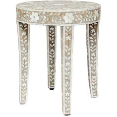 Made Goods Rory Accent Table ($950) ❤ liked on Polyvore featuring home, furniture, tables, accent tables, table, grey furniture, gray table, inlaid table, gray furniture and pink furniture