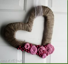 valentines wreath tutorial.....using cardboard, old t-shirt, and whatever you have to wrap and decorate with.