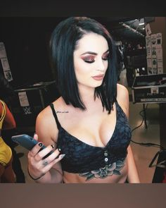 The gorgeous general manager of wwe smackdowns live Paige in a tight cleavage revealing black sexy vest. Wwe Divas Paige, Nxt Divas, Paige Wwe, Total Divas, Wrestling Divas, Women's Wrestling, Rockabilly, Becky Wwe, Saraya Jade Bevis