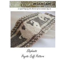 Elephants Peyote Beaded Cuff Bracelet by miamiamia
