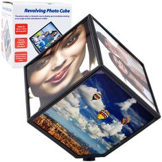 Trademark Commerce 72-122F Revolving Photo Cube - Magically Displays 6 Photos