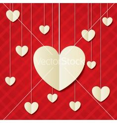 Paper hearts red background valentines day card vector by Blankstock on VectorStock®
