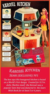 Karosel Kitchen given to me one Christmas from my Grandpa - I loved that toy more than any other I ever had!! I wish I could find one now. My Dad was in the Air Force and we moved around a lot, it probably got lost during a move. I still have some of the little food items put away with my old Barbie Collection. Maybe one day I'll find one, sigh . . .
