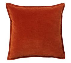 """Washed Velvet Pillow Cover $40 Our plush cotton-polyester velvet pillow cover is dyed for saturated color, then washed to create a soft, subdued luster. 20"""" square Cotton/polyester. Reverses to solid. Zipper closure; insert sold separately. Imported."""