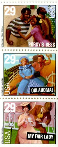 The US Postal Service commemorated the 100th anniversary of Broadway with the issuance of a booklet 29-cent stamps on July 14, 1993, in Times Square, New York, New York. This issuance was in conjunction with the Broadway on Broadway celebration, an annual event that features live musical performances from shows currently running on Broadway.