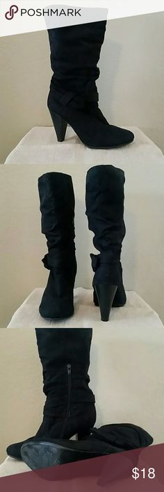 Black heeled boots Black heeled boots, inside 1/2 zip, 4in heel, 14in high, some minor scuff marks, suede like, Seychelles Shoes Heeled Boots