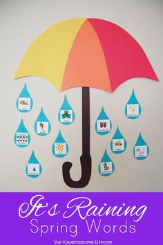 It's raining spring words! Great idea for a spring word wall or bulletin board. Free printable umbrella template too!